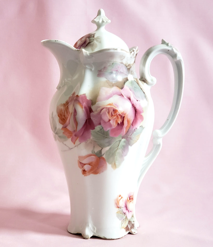 Early RS Prussia Chocolate Pot with Pink Roses - Red Mark