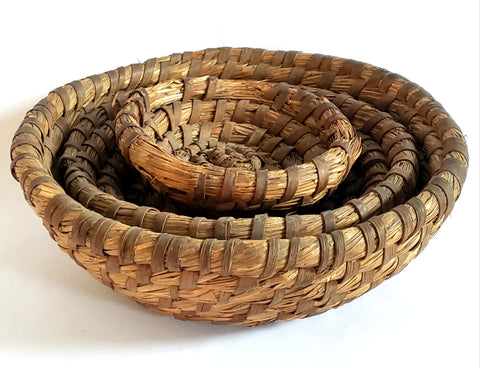 Pennsylvania Hand Coiled Rye Straw Open Baskets Bowls, Graduated Set of 3 - Rustic Country Decor