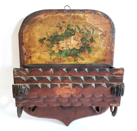Tramp Art Hand Crafted-Carved Wooden Wall Box Comb Holder -  Depression Era