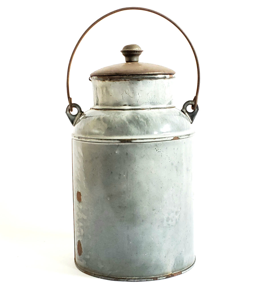 Vintage Gray Graniteware Cream Pail - w/ Original Tin Lid and Bail Handle
