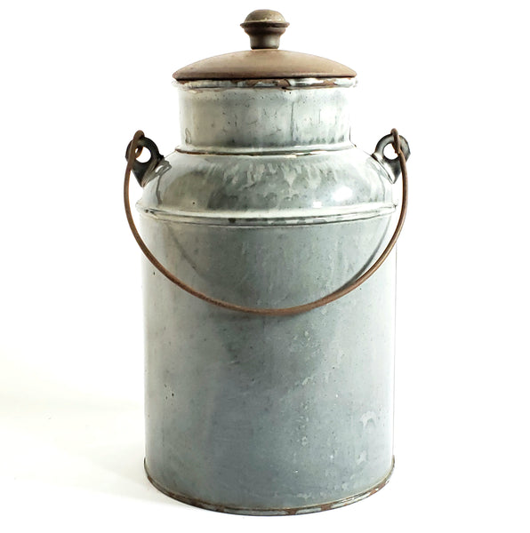 Vintage Gray Mottled Graniteware - Enamelware Cream Pail w/ Original Tin Lid and Bail Handle