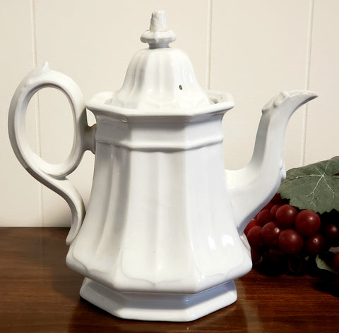 English White Ironstone Octagon Tea Pot Boote's 1851 by T & R Boote c. 1851-1854