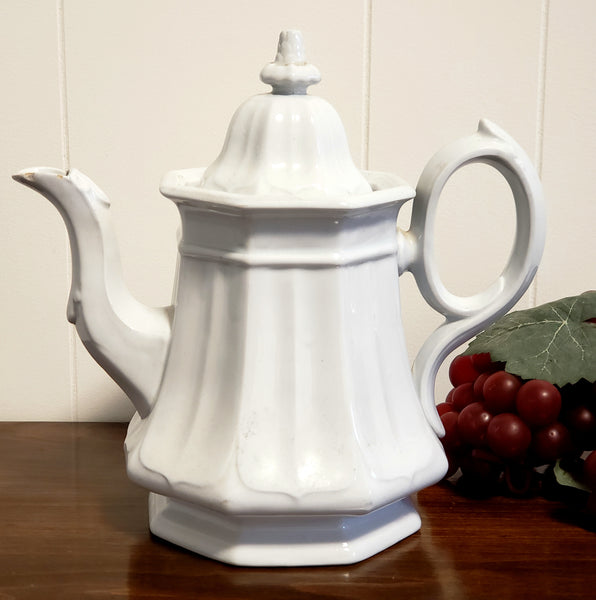 English White Ironstone Tea Pot BOOTE'S 1851 Octagon by T & R Boote c. 1851-1854