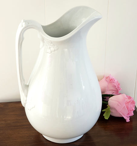 "Early English White Ironstone 12"" Pitcher - Clover by Cockson & Seddon c. 1876-1877"