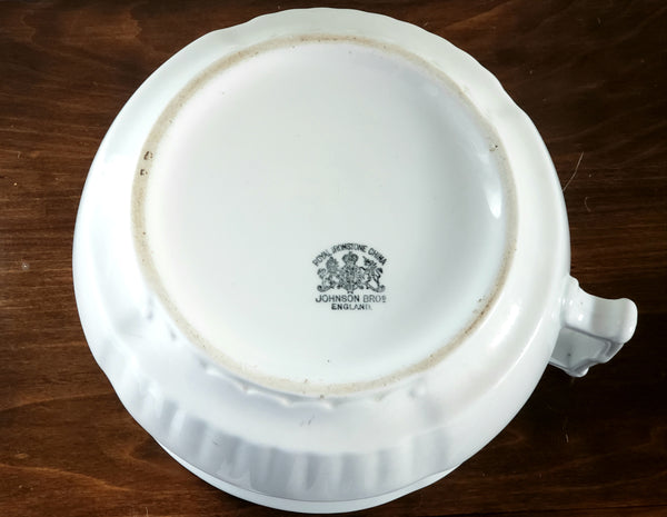 Antique White Ironstone Lidded Chamber Pot Johnson Brothers England ~ Early 1900's
