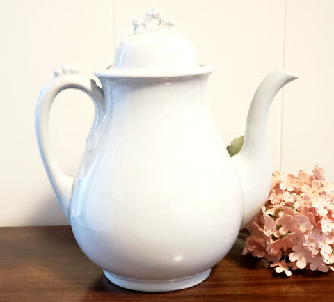 "Antique White Ironstone 9 1/2""  Tea Pot, Burgess & Goddard c. 1840-1890"