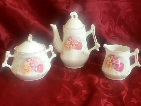 Vintage White Porcelain Childrens Teapot, Creamer and Sugar w/ Pink & Yellow Roses