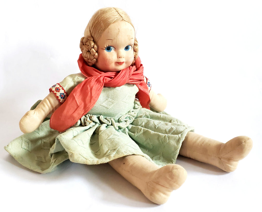 Vintage Cloth Doll with Mask Face Coiled Braided Hair