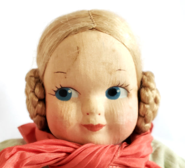 "Vintage 13"" Stuffed Cloth Doll with Mask Face and Coiled Braided Hair,"