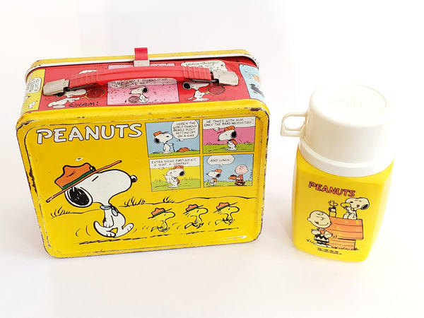 Peanuts Metal Lunch Box and Yellow Plastic Thermos, Snoopy Scoutmaster & Charlie Brown c. 1960's