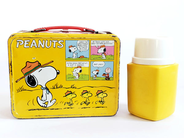 Charlie Brown Peanuts Metal Lunch Box and Yellow Plastic Thermos, Snoopy Scoutmaster & Charlie Brown c. 1960's