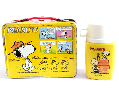 Peanuts Metal Lunch Box and Plastic Thermos, Snoopy Scoutmaster & Charlie Brown c. 1960's