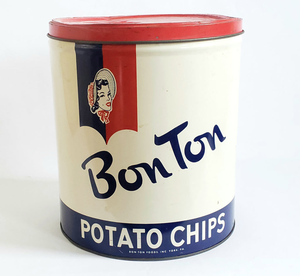 Bon Ton Potato Chip Can, York Pennsylvania Red, White, Blue Americana Advertising c. Mid Century