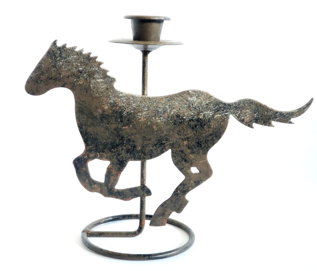 Running Steel Horse Candle Stick Holder