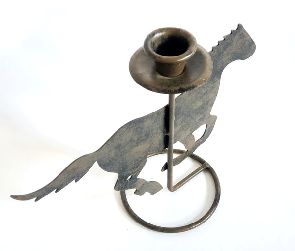 Running Steel Horse Candle Stick Holder, 7 inch Gray