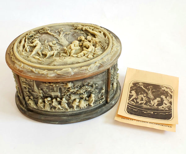 "Incolay Stone Jewelry Trinket Box ""La Vie Village"" No. 1-5017"