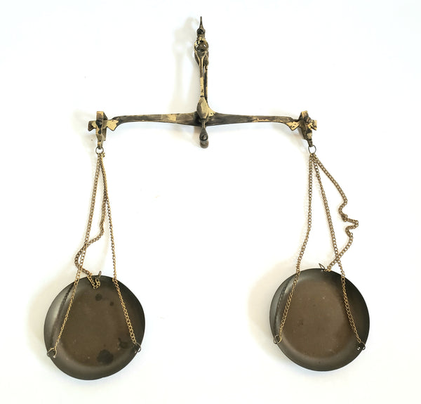 Antique Small Brass Hanging Equal Arm Balance Scale Apothecary, Money