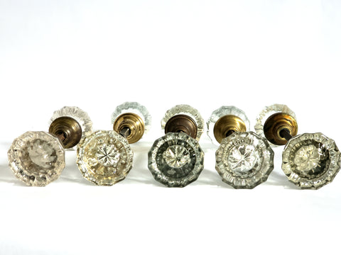 Antique Glass Doorknob Sets w/ Spindles, 12-pt - 5 Sets
