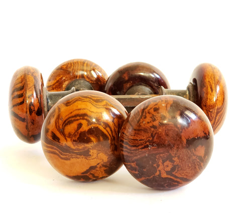 Antique Bennington Brown Swirl Mineral Porcelain Door Knobs, Set of 3 c. Late 1800's