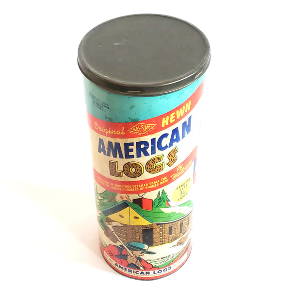 Halsam American Logs, Hewn No. 815 Senior Size, Original Packaging & Extras 153 pieces c. 1950's