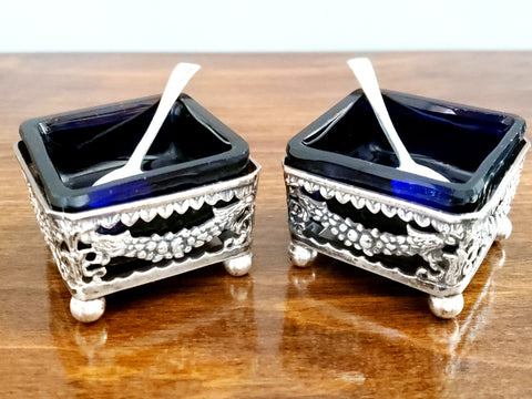 Antique Pierced Square British Silver Salt Cellars with Cobalt Blue Inserts, Set of 2 c. Early 1900's