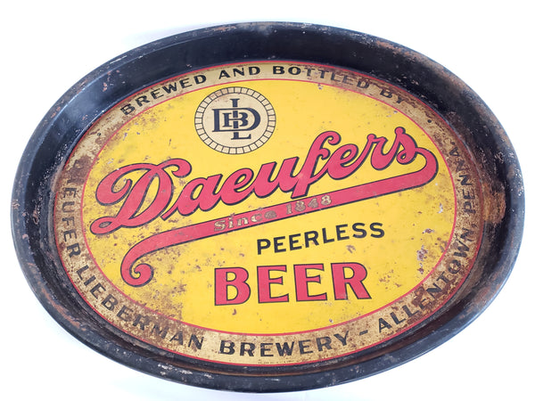 Early Original Daeufers Peerless Beer Tray, Daeufer-Lieberman Brewery c. 1930's