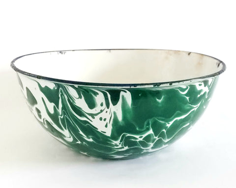 Antique Green and White Swirl Enamelware Mixing Bowl