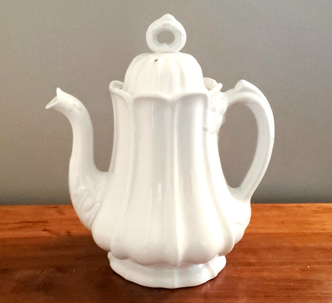 Antique White English Ironstone Tea Pot by Edward Pearson c 1853-1873