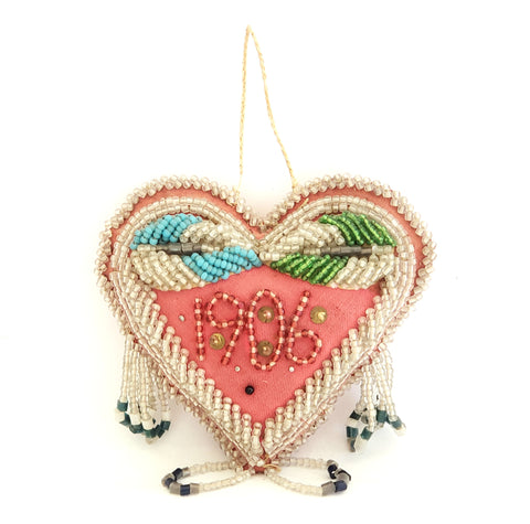Antique Heart Shape Beaded Pin Cushion c. 1906