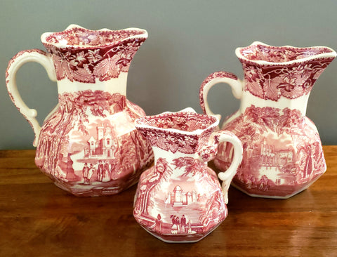 Masons English Ironstone Pink Transferware Jugs, VISTA, Set of 3, c. 1940's