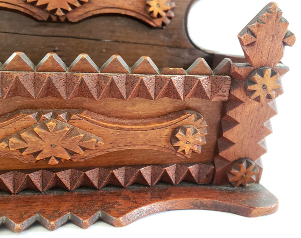 Wood Carved Tramp Art Wall Comb Box c. 1920 - 1940