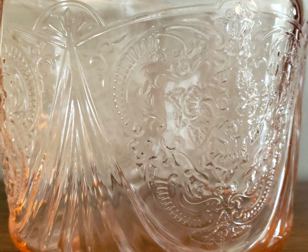 Pink Royal Lace Depression Glass Cookie Jar by Hazel Atlas c. 1934-1941