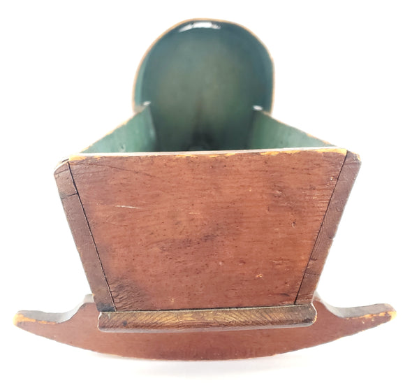 Antique Handcrafted Wooden Small Baby Doll Cradle w/ Dome Hood