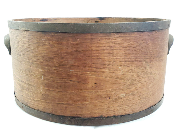Americana Bentwood Dry Grain Measure Bucket w/ Iron Side Handles c. Late 1800's