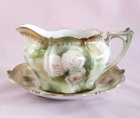 RS Prussia Creamer w/ Matching Saucer White & Pink Roses Red Mark Germany c. 1904-1918