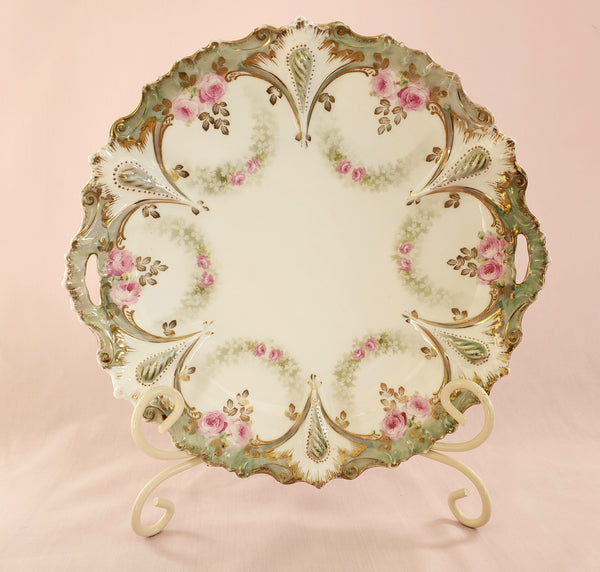 Scalloped Serving Dish w/ Pink Roses w/ Green Swag by RS Prussia, Germany c. 1904-1918