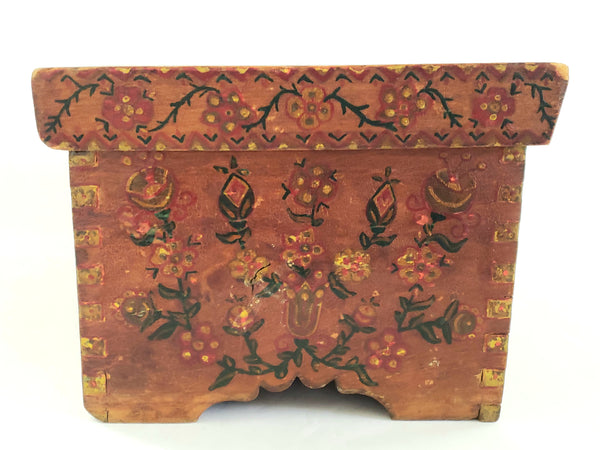 "Antique Pennsylvania Folk Art Hand-Painted Wooden Box ""Tulips and Floral"" c. Late 1800's"