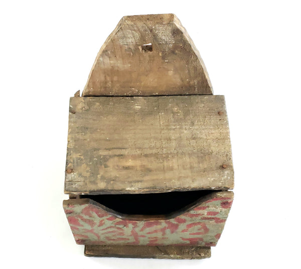 Primitive Wall Box with Original Blue-Gray and Red Paint