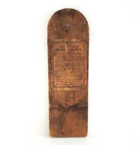 Antique Wellington Knife Sharpening Board w/ Graphics c. 1800's