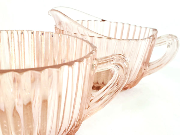 "Pink Depression Oval Creamer & Sugar ""Queen Mary"" - Vertical Ribbed by Anchor Hocking c. 1936-1940"