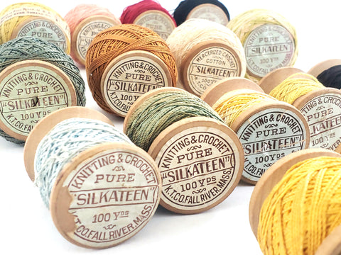 Antique Silkateen Cotton Knitting & Crochet Thread 16 Spools by K.T. Co. Fall River,