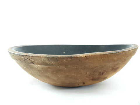 Primitive Large Wooden Dough Bowl w/ Early Black Interior Paint c. 1800's