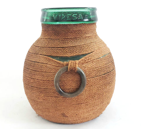 Vintage VIRESA Green Glass Demijohn Bottle - Jug Nestled in Woven Wrap w/ 2 Bangle Handles
