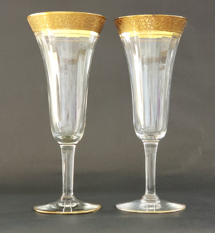 Tiffin-Franciscan Clear w/ Gold Encrusted Fluted Parfait Glasses, Rambler Rose, Set of 2 - Mid Century
