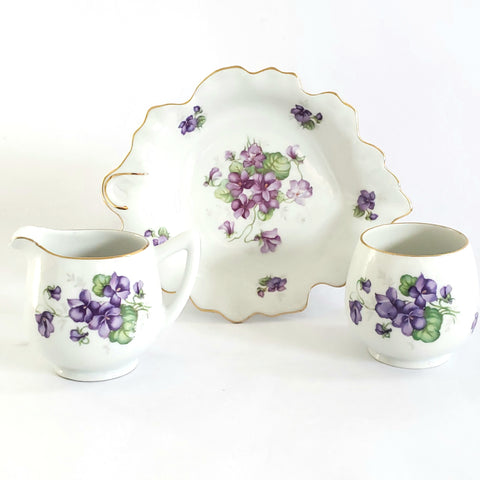 Purple Violette's Mini Sugar, Creamer and Snack Dish by Schumann Germany c. Mid Century