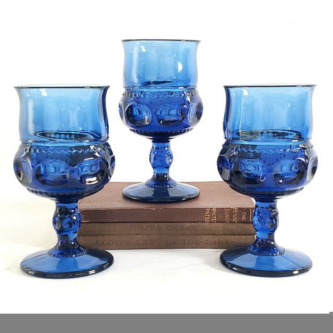 Blue Colony Crown Thumbprint Water Goblet by Lancaster Colony Corp - Tiara c. 1970's - 1980's