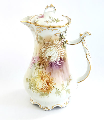 Hand-Painted Jean Pouyat Limoges Porcelain Chocolate Pot, Lanternier and JPL c. 1891-1914