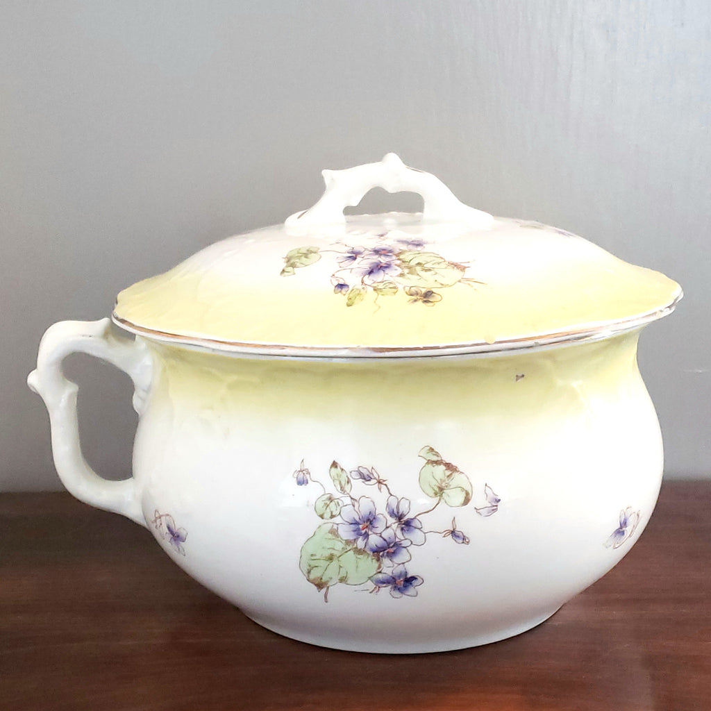 English Johnson Brothers Chamber Pot with Lid Semi-Porcelain Violets England c. Early 1900 +