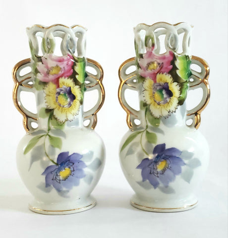 "Occupied Japan 6"" Floral Vases w/ Articulated Edge and Handles by UCAGCO (Set of 2) c. Mid Century"