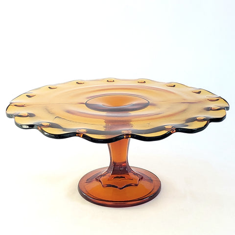 "Amber Glass Pedestal Cake Stand ""Teardrop"" by Indiana Glass c. Mid Century"